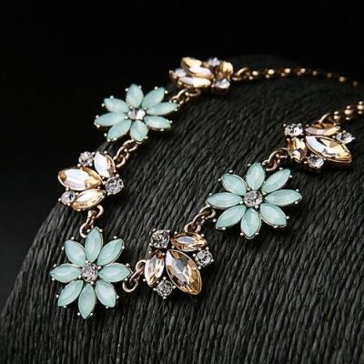Mayra Aqua Flower Necklace