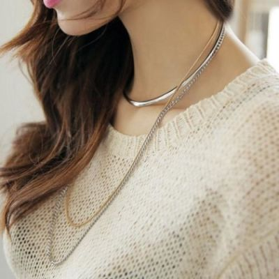 Silver Gold Chain Collar Necklace