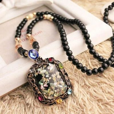 Black Crystal Beads Long Necklace