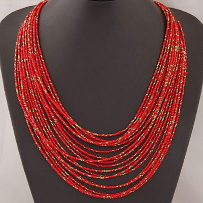 Red Beads Bohemian Necklace