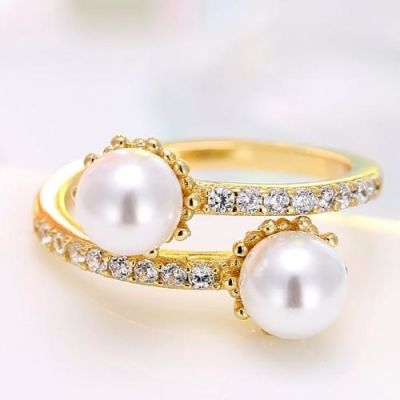Champagne Pearl Zircon Ring