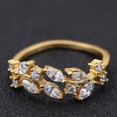Gold Diamond Vine Ring
