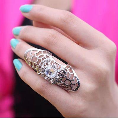 Hollow Diamond Silver Ring