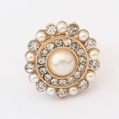 Big Retro Pearl Flower Ring