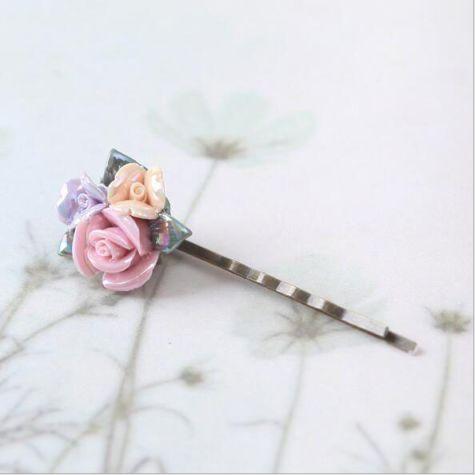 Handmade Ceramic Rose Hairpin