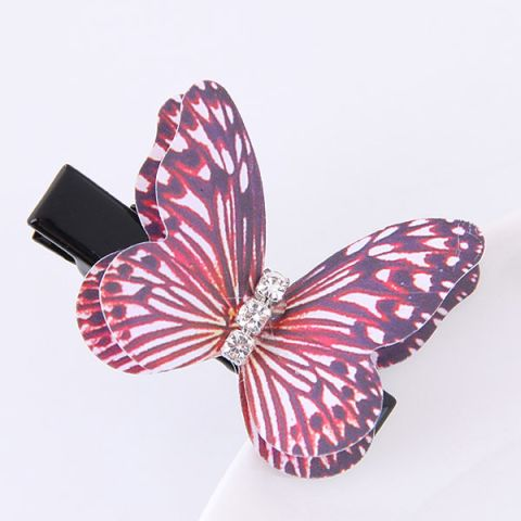 Red Butterfly Three-Dimensional diamond Hairpin