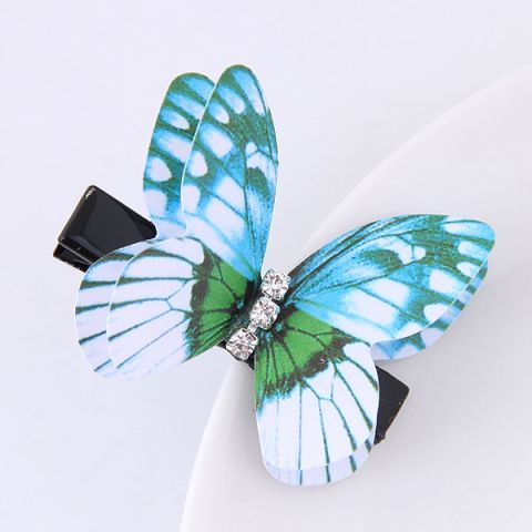 Sky Blue Butterfly Three-Dimensional diamond Hairpin