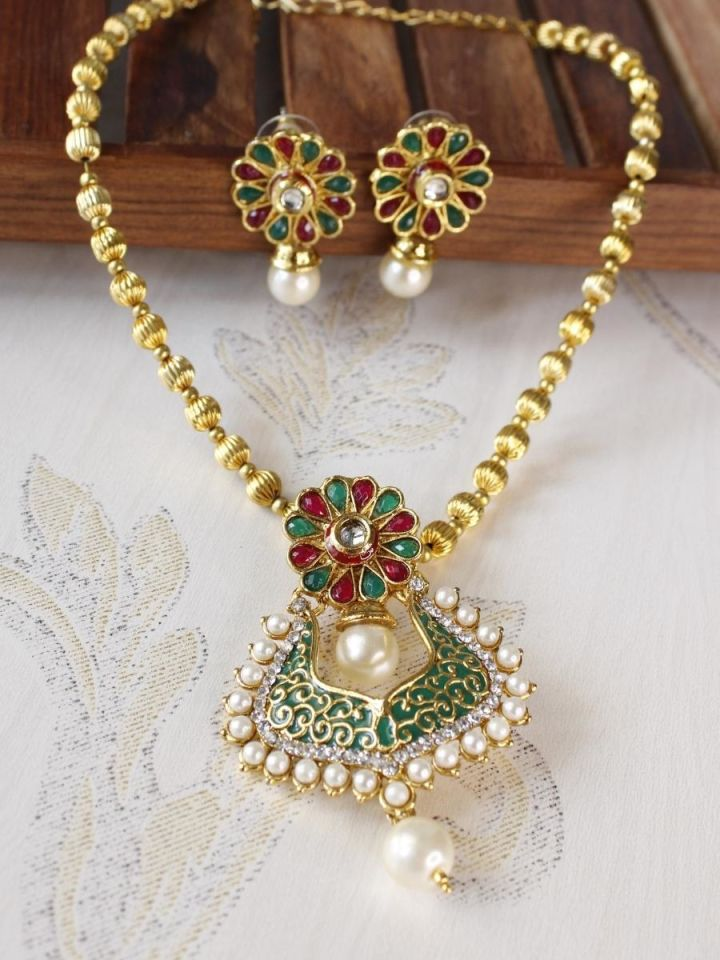 South Indian Gold Plated  Polki Locket Set