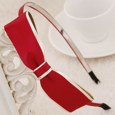 Girls lovely warm red Bow fine hair bands