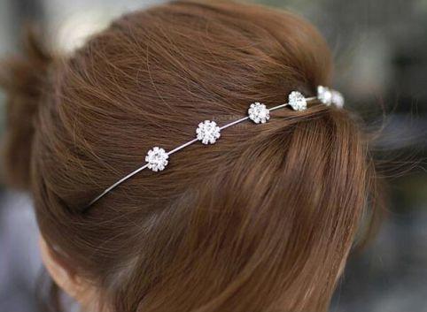 White Diamond sweet sun flowers fine hair hoop  headband