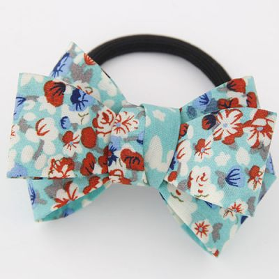 SkyBlue Floral Bow Ponytail Holder  Rubber Band