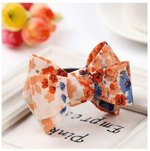 Peach Floral Bow Ponytail Holder  Rubber Band