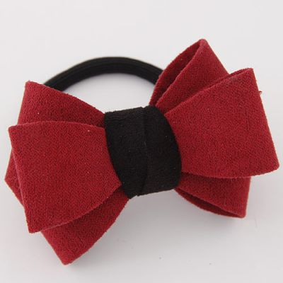 Maroon Bow Ponytail Holder  Rubber Band