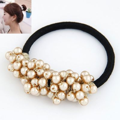 Cluster champagne pearl beaded rubber band