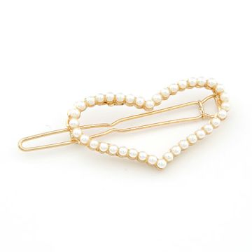 Sweet Heart Shape pearl studded Hair Pin