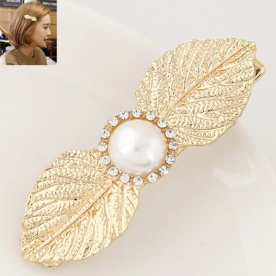 Gold Metal Leaf Pearl Edge Clip