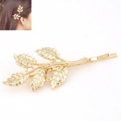 Gold Leaves Pattern Side Hairpin
