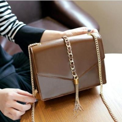 Brown Chain Fringed Bag