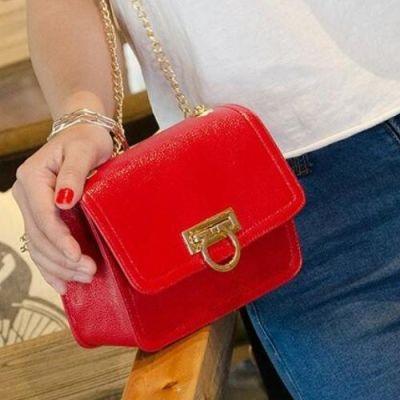 Red Metal Ring Handle Sling Bag