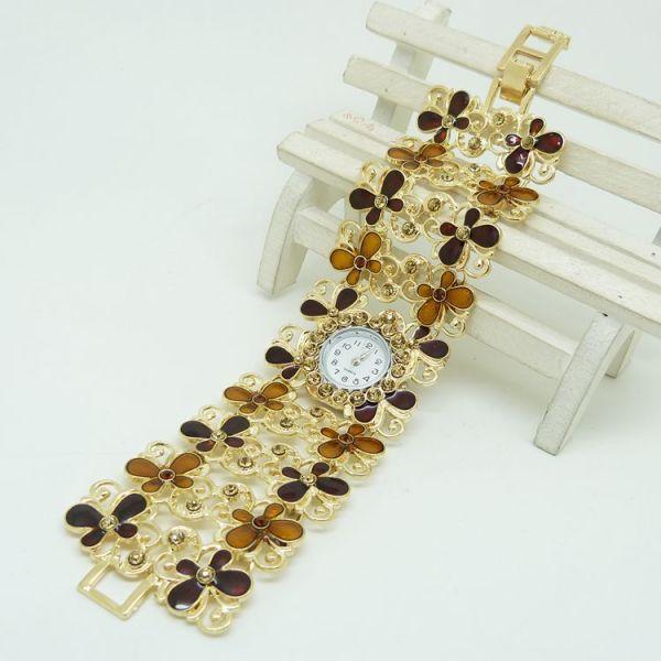 Shforn Gold  American Diamond Butterflies Bracelet watch