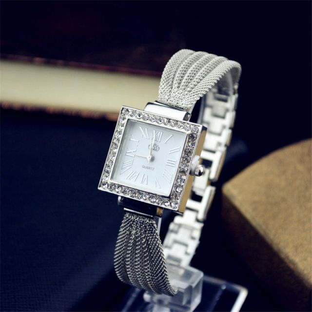 Silver Square Mesh Belt Watch