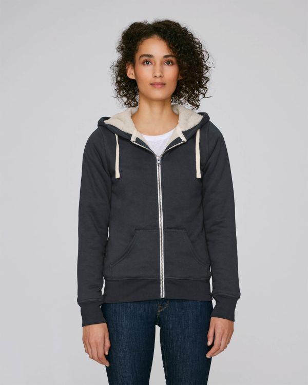 Stella Travels Sherpa - Le sweat-shirt zippé capuche femme doublé en sherpa