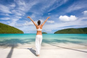 healthy woman practicing yoga in white outfit on tropical maho bay beach Need a Beauty treatment? All about Skin Care? Have the Best and Favorite Buy in Electrical Devices. Shop convinient, shop in Style!