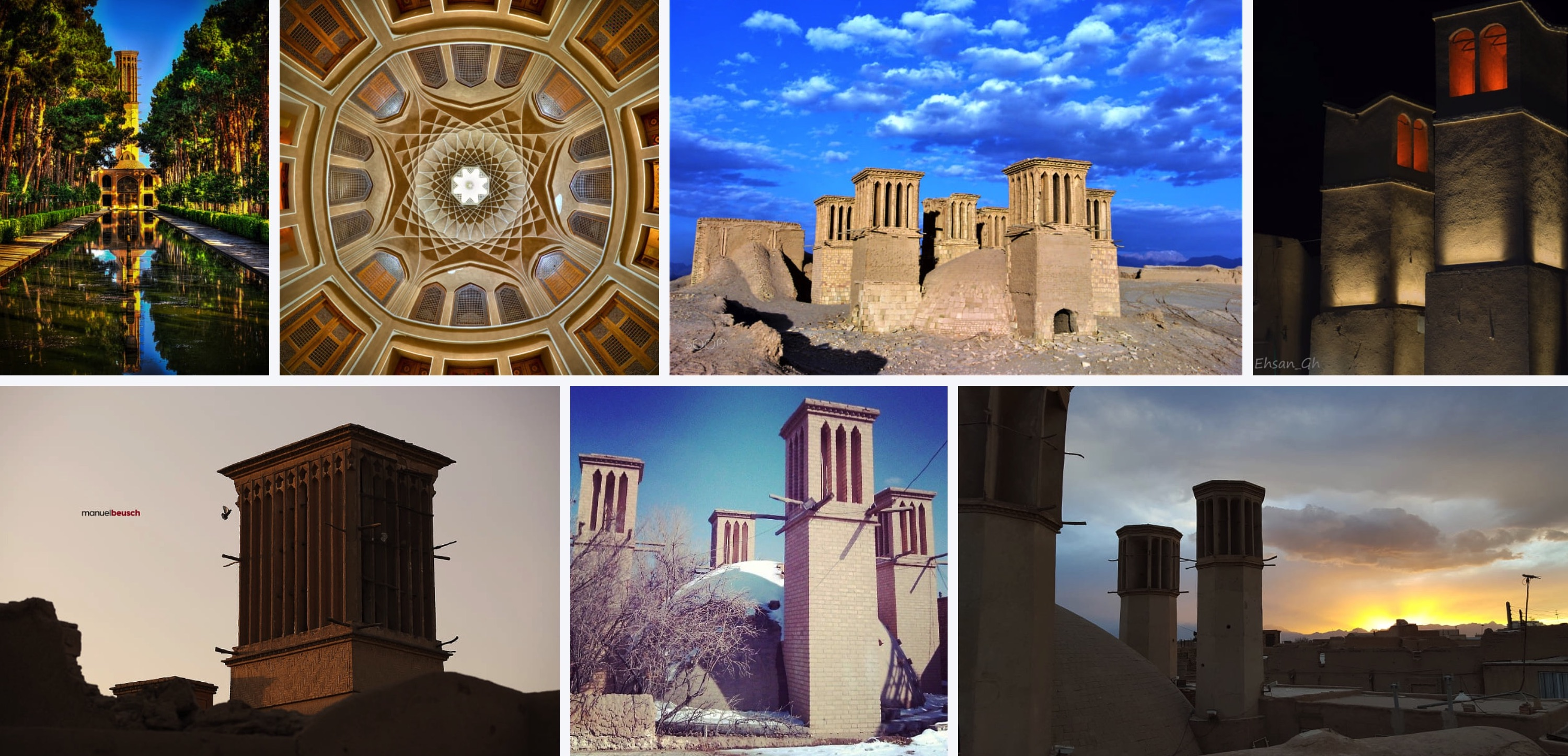 wind towers of yazd in iran photos