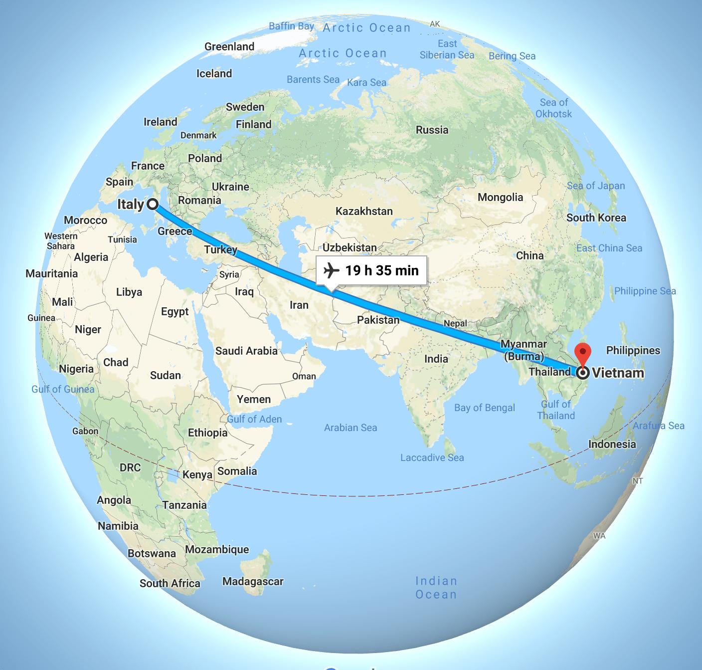 flights from Italy to vietnam