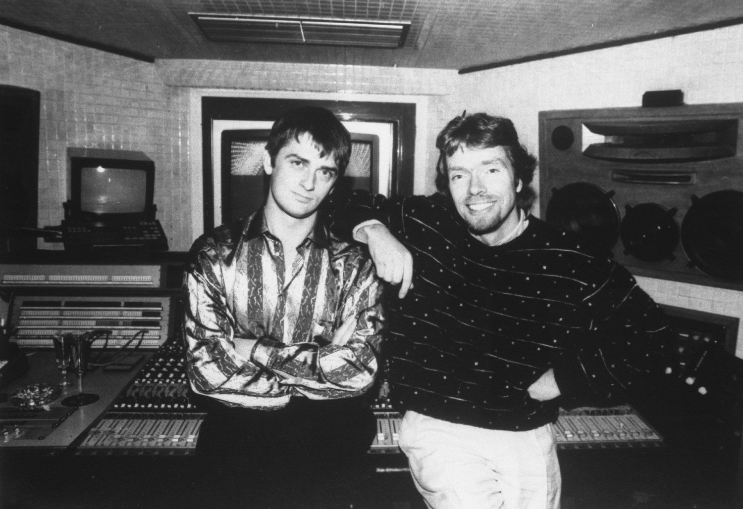 Richard Branson with Mike Oldfield at Virgin Records