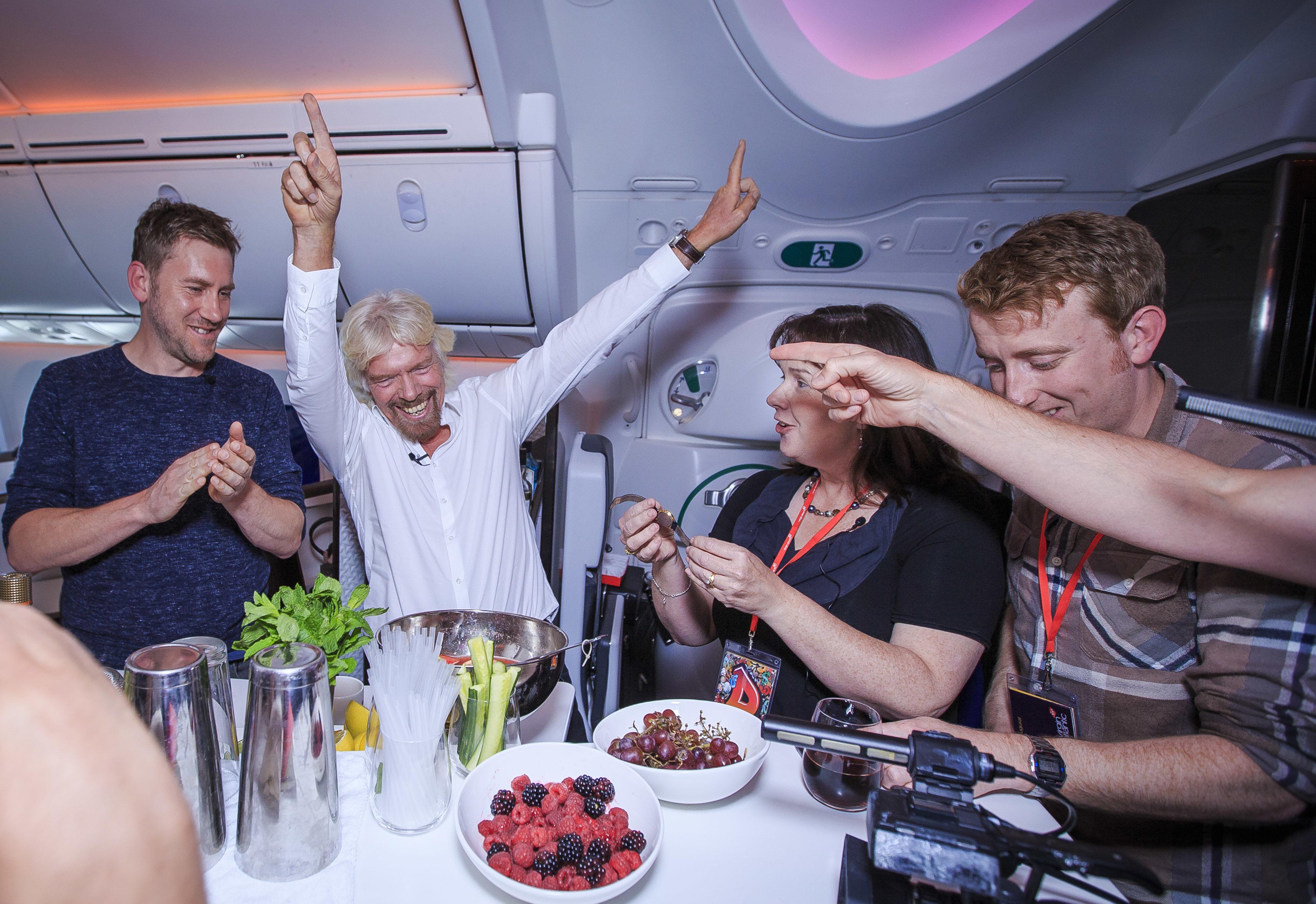 Richard Branson and Virgin StartUp on Virgin Atlantic flight to Detroit