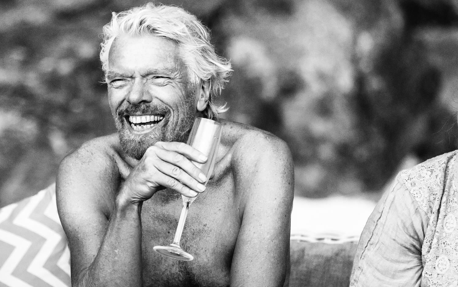 Richard Branson enjoying a drink