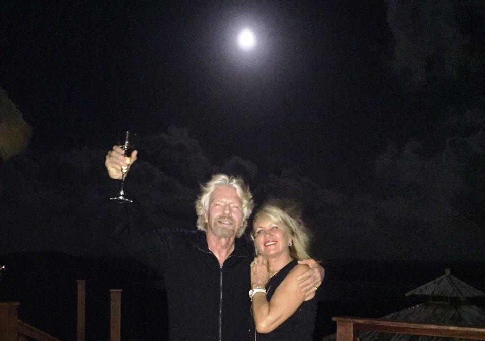Richard Branson and Joan Branson under the moon