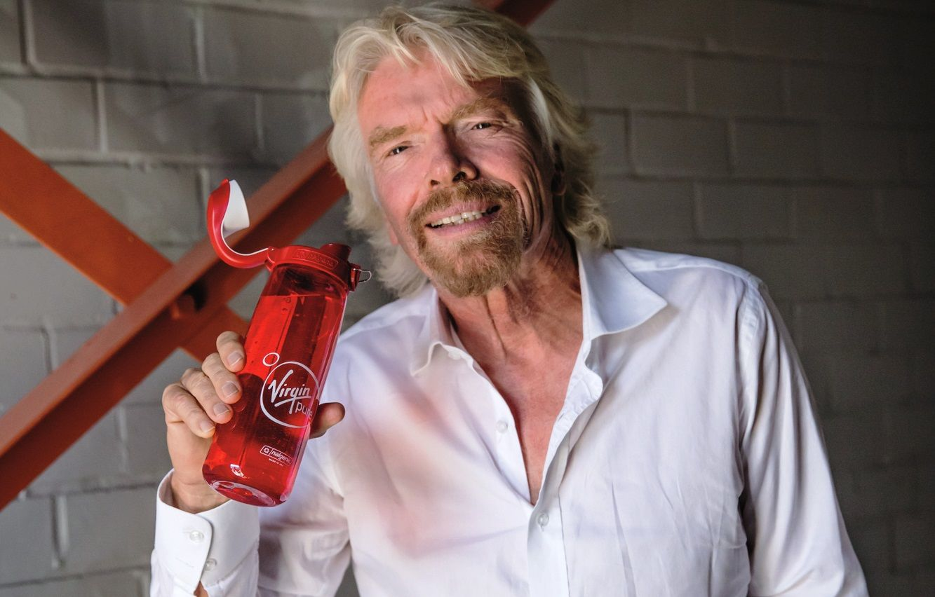 Richard Branson Virgin Pure water bottle