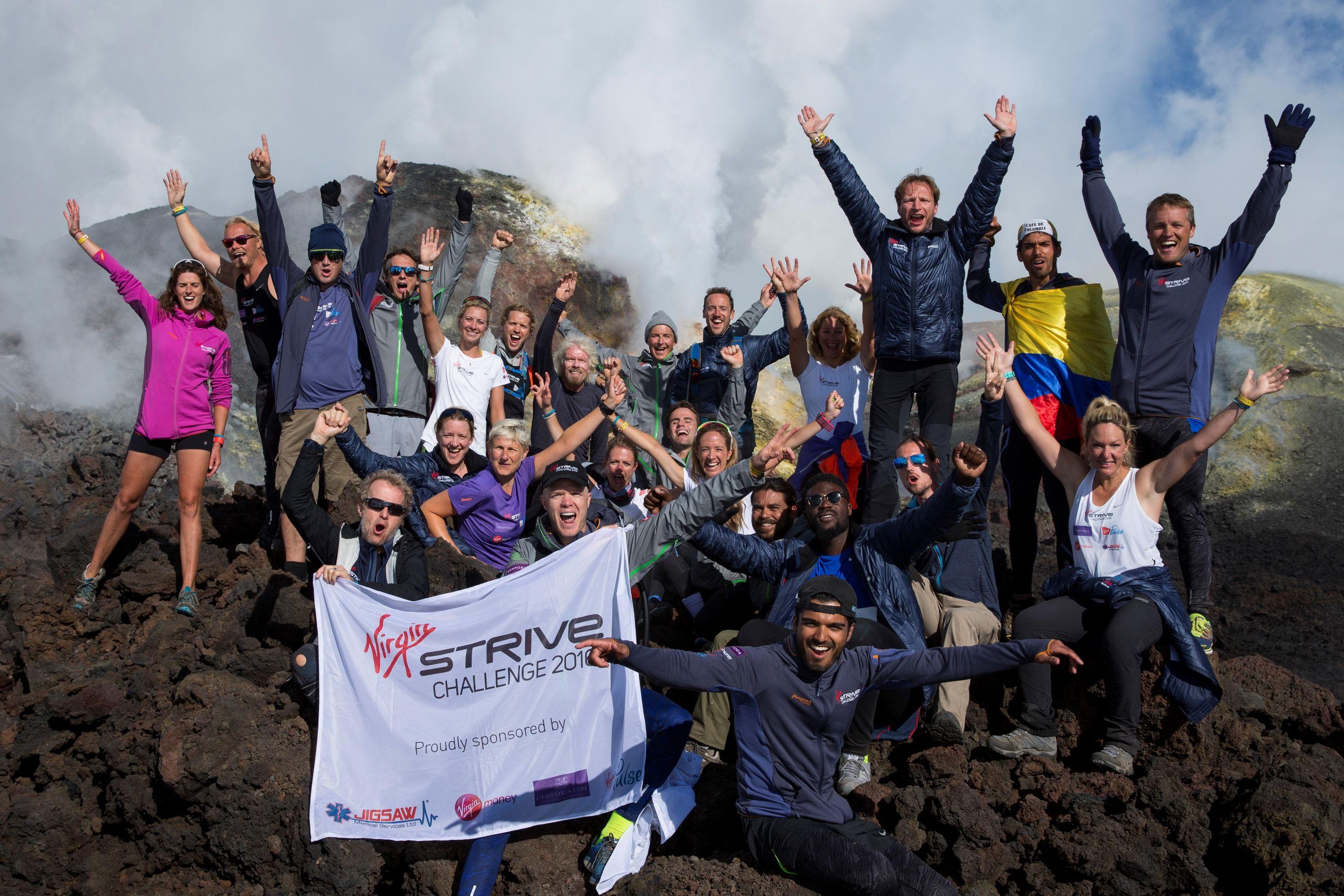 Richard Branson virgin strive challenge hike mt etna