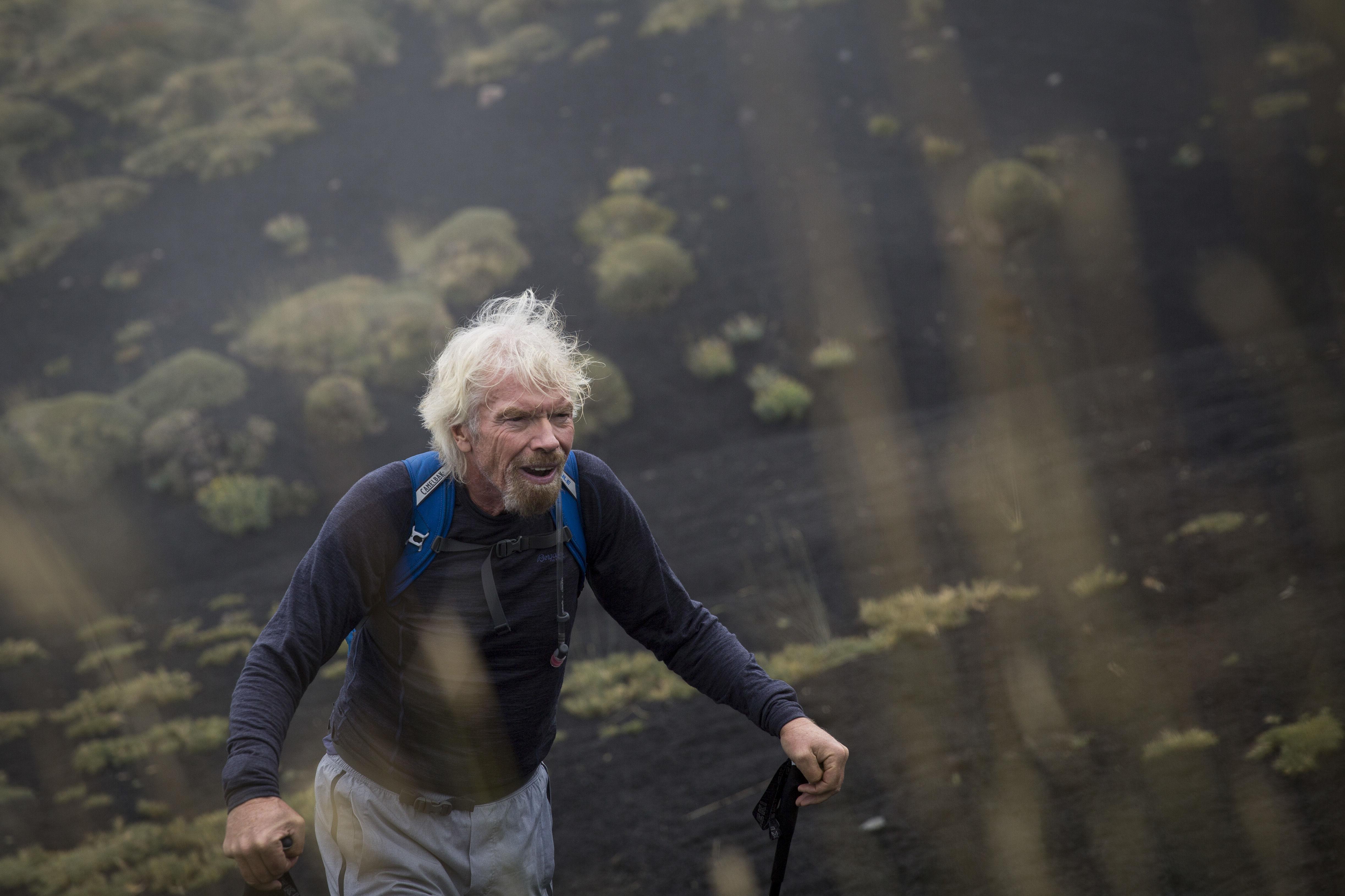 Richard Branson virgin strive challenge 2016 HIKE mt etna