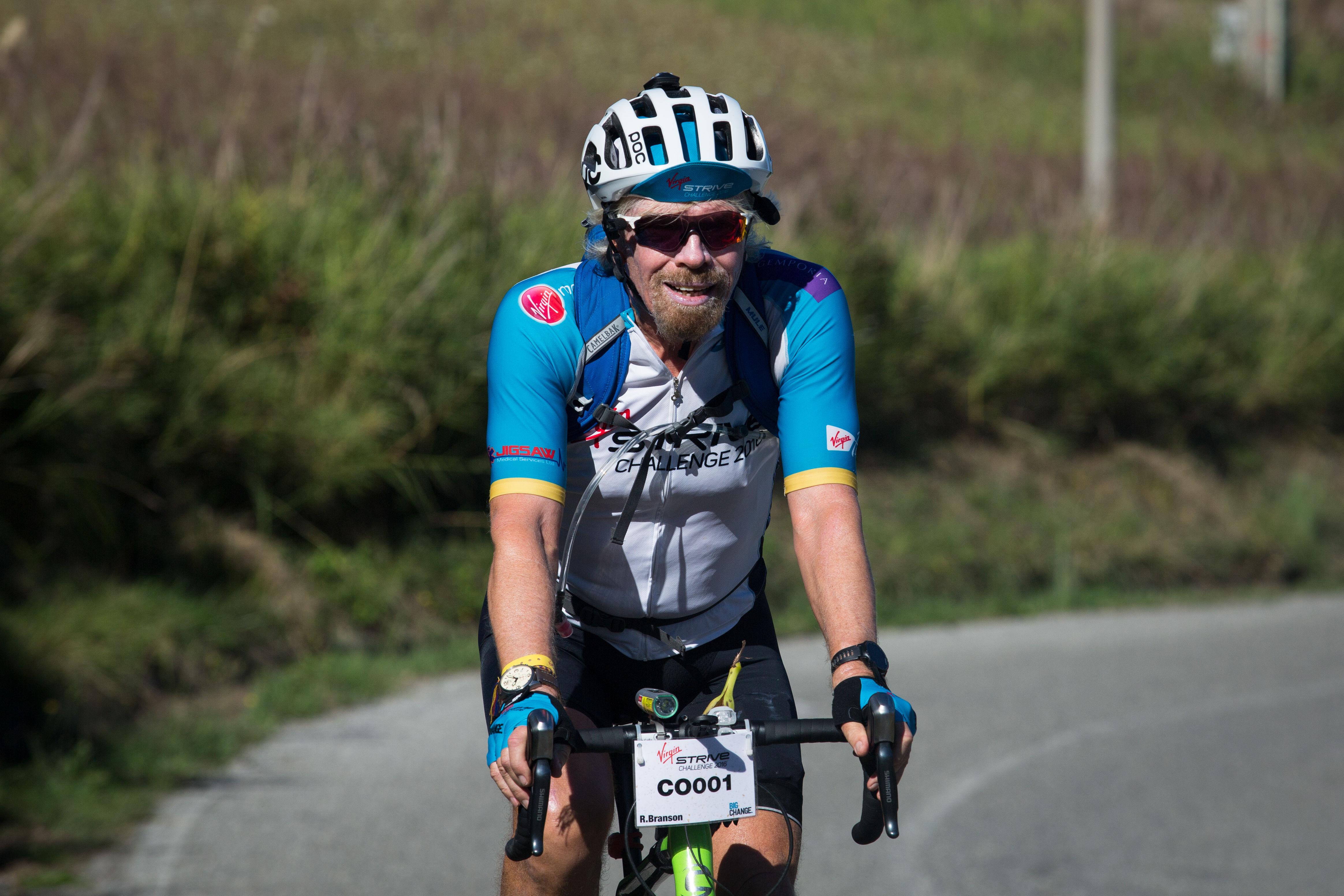 richard branson virgin strive challenge cycle