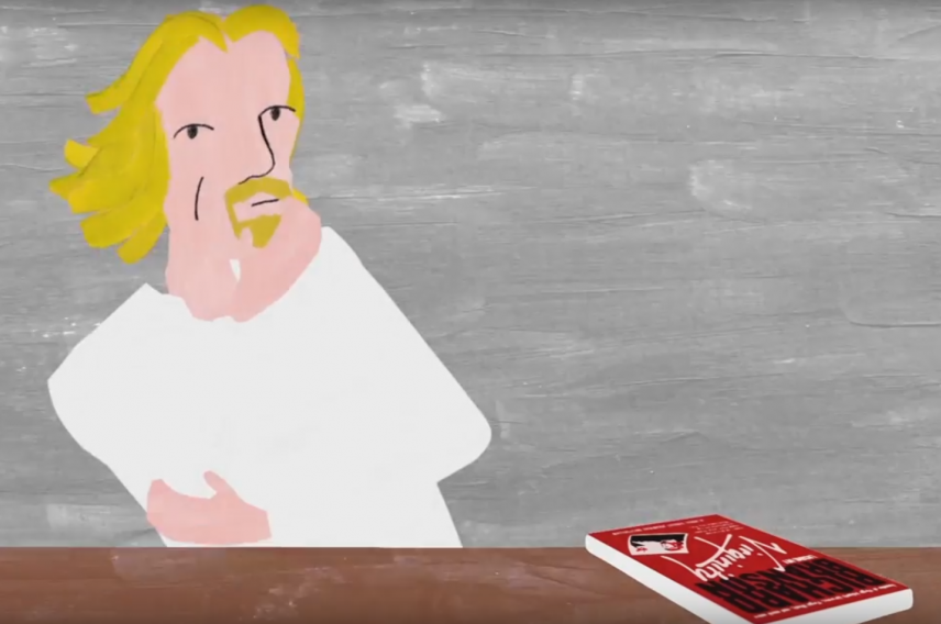The history of Virgin in 114 seconds animation still Richard Branson cartoon