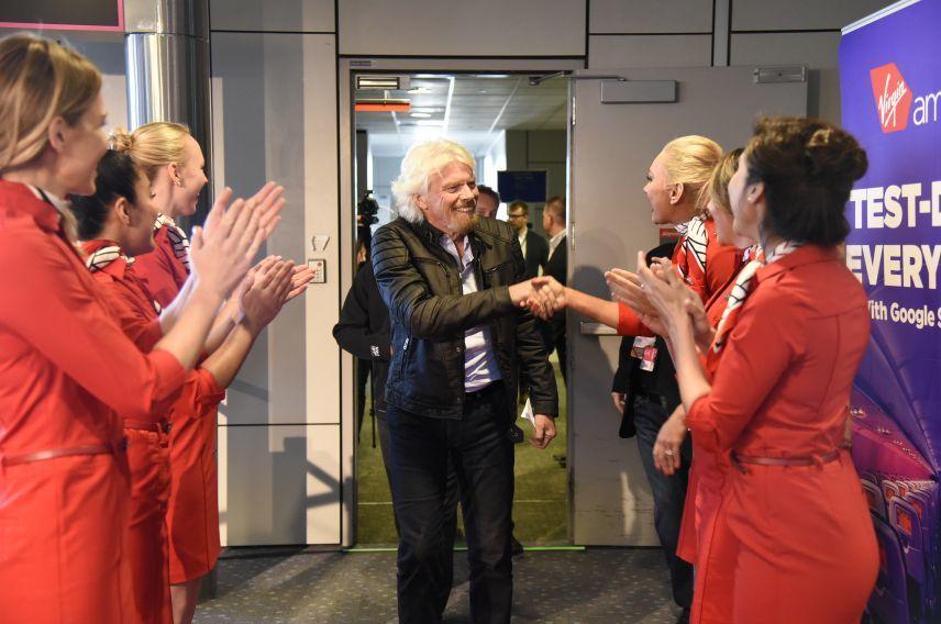 Richard Branson Virgin America Denver launch
