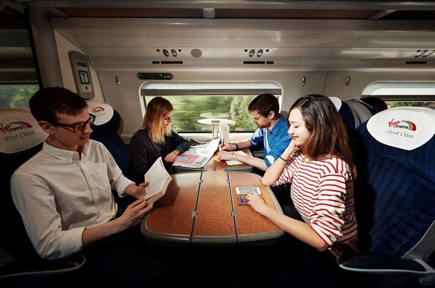 Virgin Trains on board passengers first class
