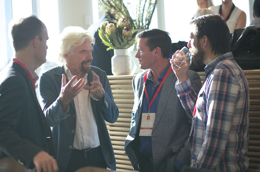 Richard Branson with team members at The Virgin Way Co-Lab