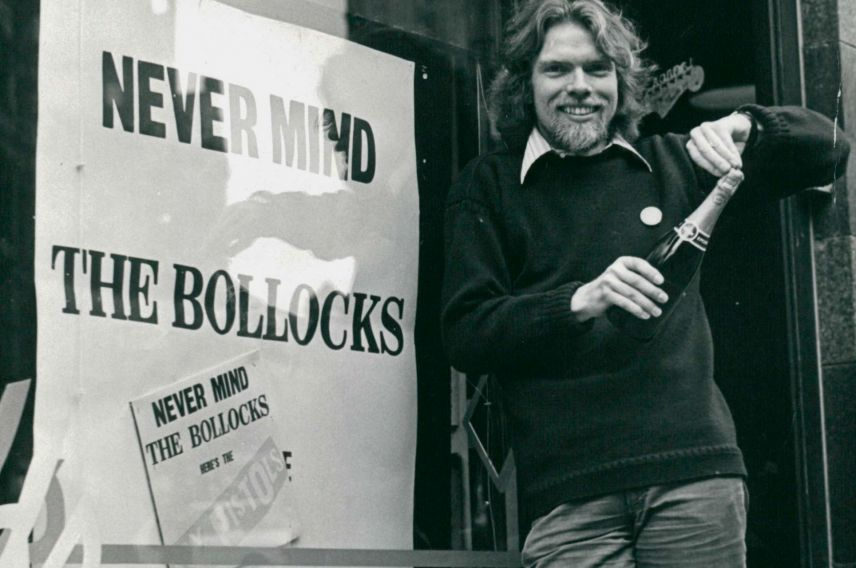 richard branson sex pistols never mind the bollock store window and champagne