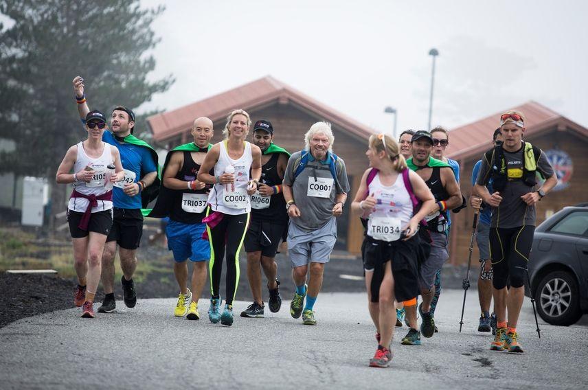 Richard Branson virgin strive challenge 2016 run mt etna