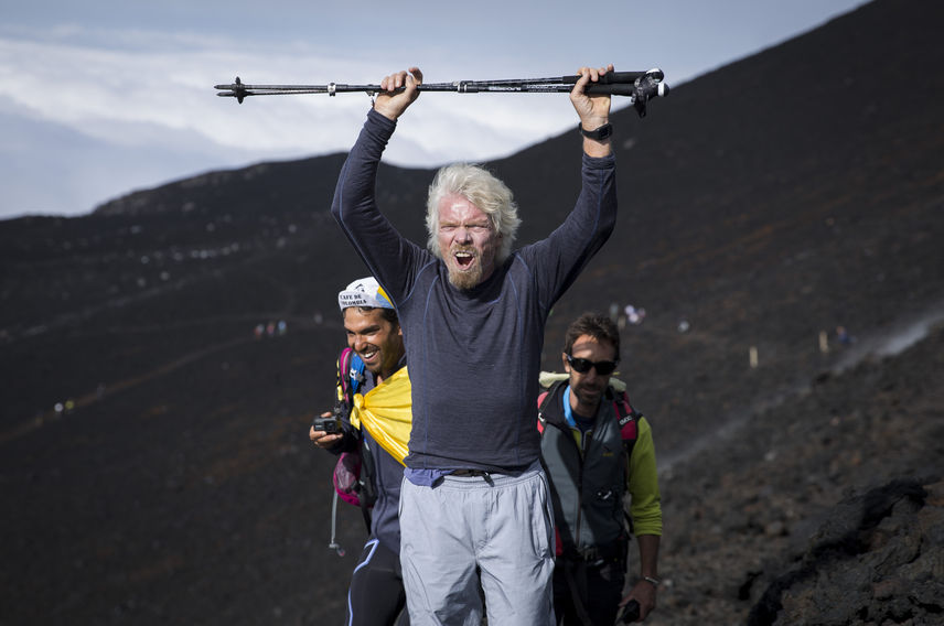 Richard Branson virgin strive challenge 2016 HIKE mt etna