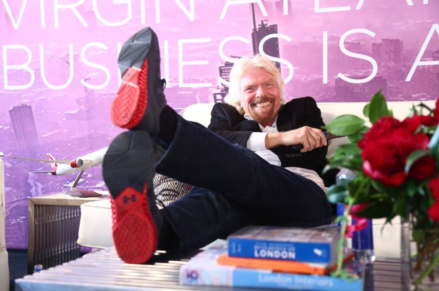 Richard Branson virgin atlantic Business is an Adventure shoes