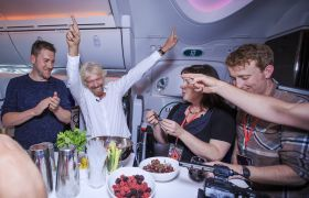 Richard Branson and Virgin StartUp on Virgin Atlantic flight to Detroit