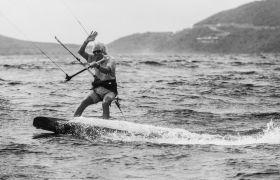 Richard Branson kitesurfing Necker Island for Chapter One film