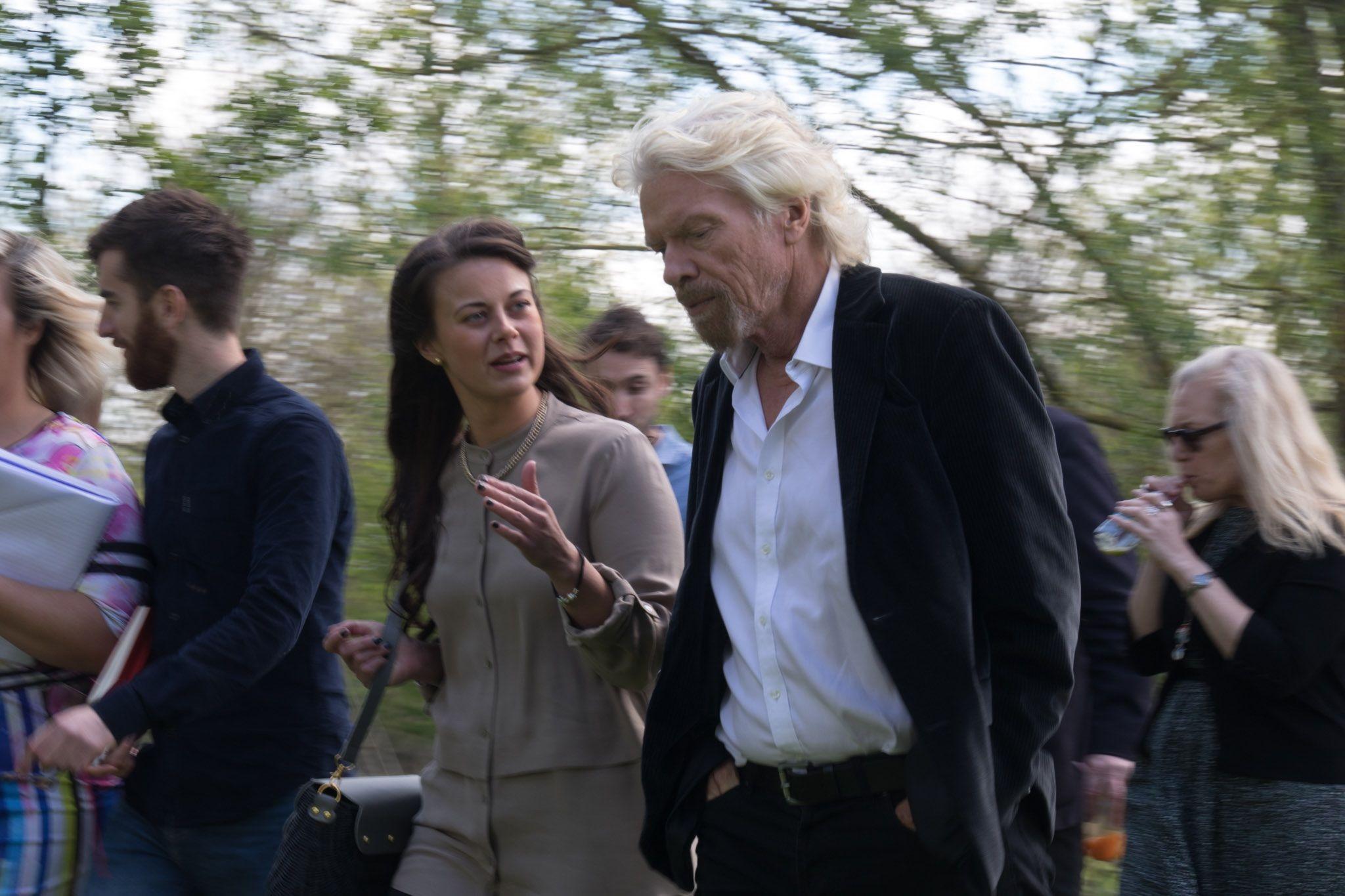 Richard Branson walking meeting with Virgin StartUp