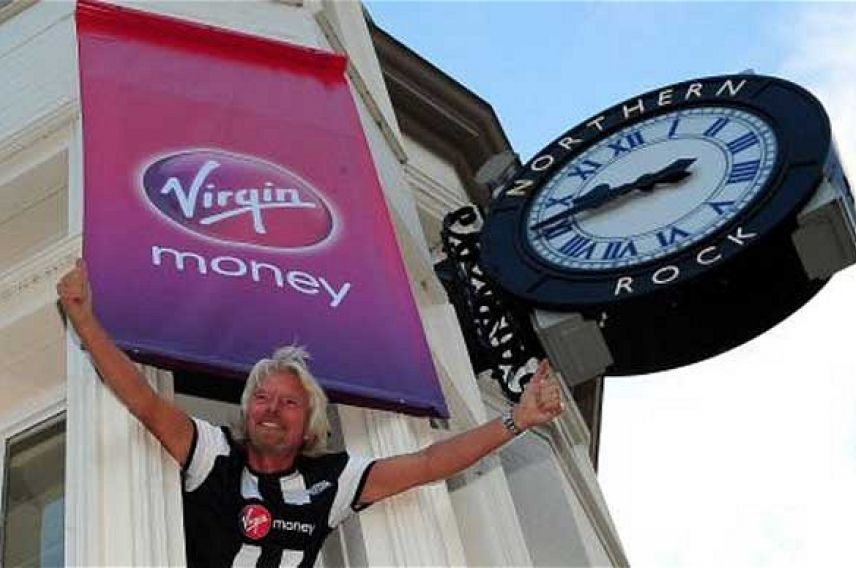 Richard Branson outside a Northern Rock store