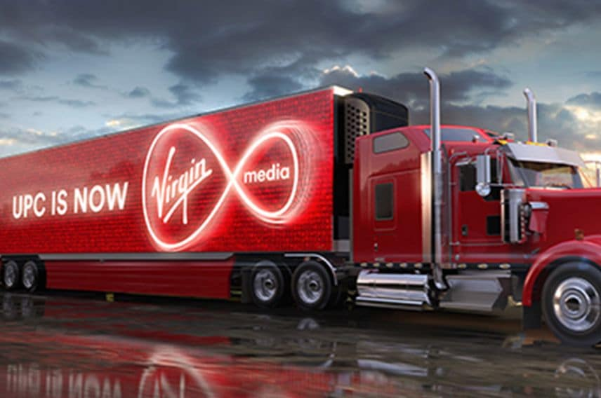 An image of a truck advertising UPC's Virgin Media Ireland re-brand